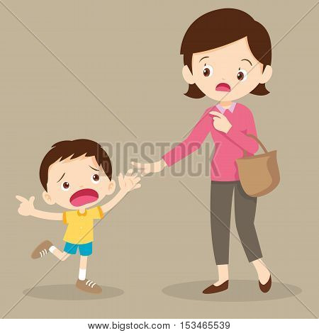 Frightened Boy Pulling His Mother's Hand While Pointing at Something.children want to buy something.