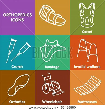 Vector Set Line Icon Orthopedic Insole