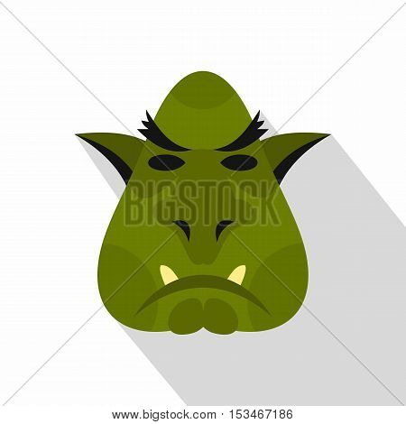 Head of troll icon. Flat illustration of head of troll icon for web