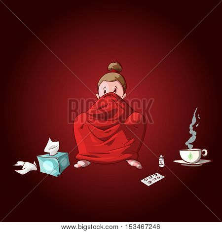 Colorful vector illustration of a cartoon sick girl covered with blanket having hot tea or medicine and used tissues and pills.