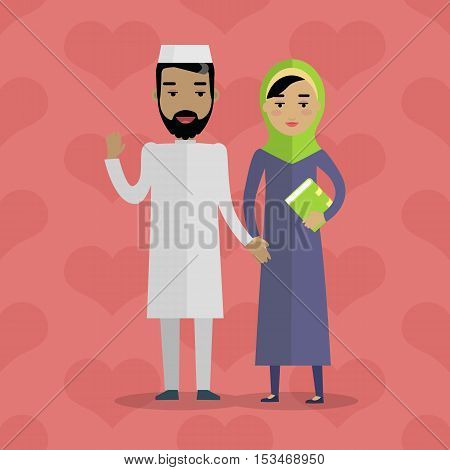 Muslim people. Arabian family. Arabic husband and wife. Man in white gown and woman in paranja. Mussulman and mussulwoman. Middle eastern couple. People of the world series. Vector in flat style