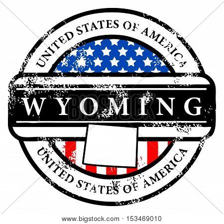 Grunge rubber stamp with name of Wyoming, vector illustration