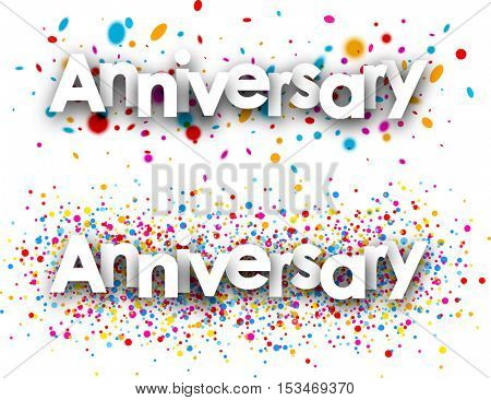 Anniversary paper banners set with color drops. Vector illustration.