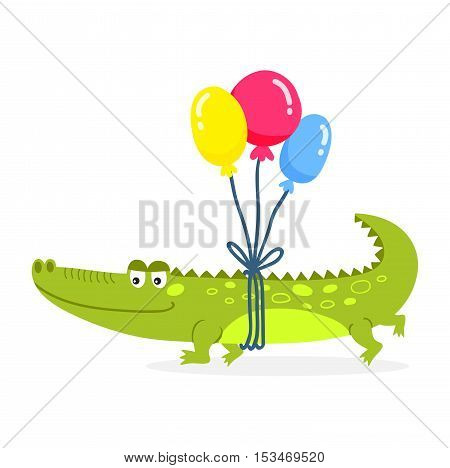 Cute cartoon crocodile character green zoo animal. Cute crocodile character doodle animal like a toy with teeth. Happy predator crocodile character mascot comic color vector icon.