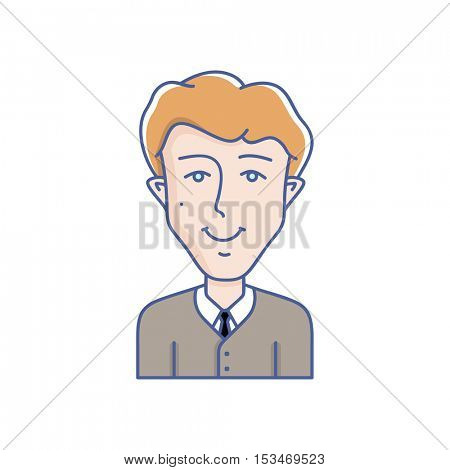 Man face expression avatar icon. Vector linear illustration of young man