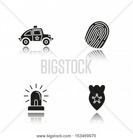 Police drop shadow black icons set. Car, fingerprint, flasher, badge symbol. Isolated vector illustrations