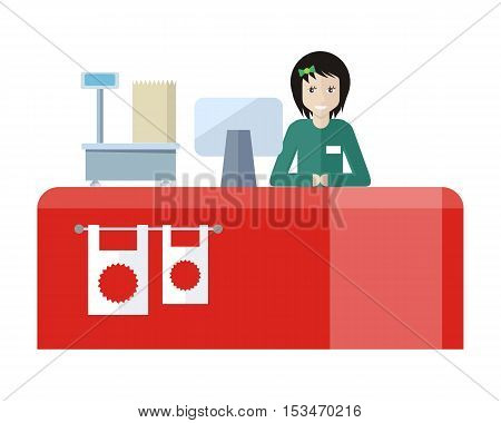 Shop assistant sitting at the cash desk. Quality service. People in supermarket interior design. Saleswomen at the counter. Mall manager near weighing-machine. Marketing, retail store. Vector