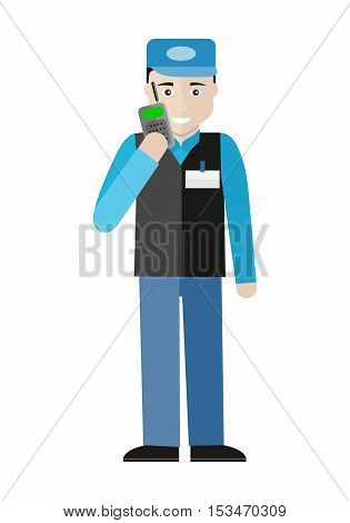 Security character illustration in flat style design. Smiling man in blue uniform talking on mobile radio. Guard in supermarket. Picture  for profession illustrating. Isolated on white background.