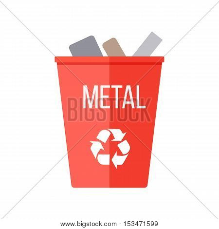Red recycle garbage bin with metal. Reuse or reduce symbol. Plastic recycle trash can. Trash can icon in flat. Waste recycling. Environmental protection. Iron and metal products. Vector illustration.