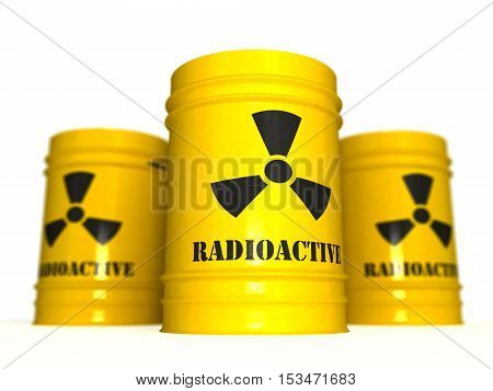 yellow barrels of radioactive waste on a white background 3D