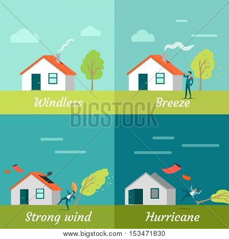 Wind strength levels. Windless breeze strong wind hurricane. Set of banners with wind levels. Cottage house, man and tree. Natural disaster. Changeable weather concept. Vector illustration