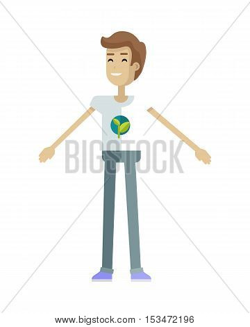 Smiling man with branch and leaves emblem on clothes, standing as part of human chain. Ecologist, environmentalist, nature protection activist or volunteer illustration. Flat design. Earth day.