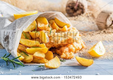 Closeup Of Delicious Fish Cod With Chips With Lemon
