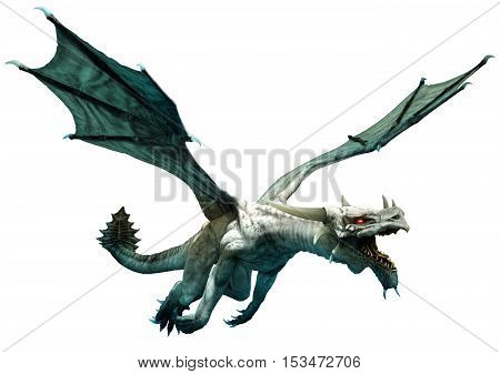 White dragon flying in to attack 3D illustration