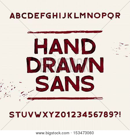 Hand drawn alphabet font. Dirty sans serif letters and numbers. Vector typeface for your design.