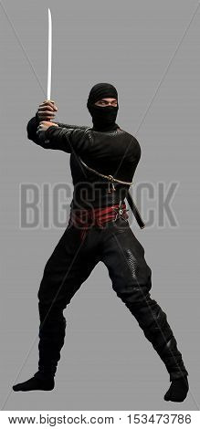 Ninja attacking with katana sword  3D illustration