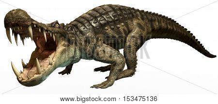 kaprosuchus from the Cretaceous era 3D illustration
