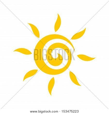 Cute sun swirl flat design icon llustration