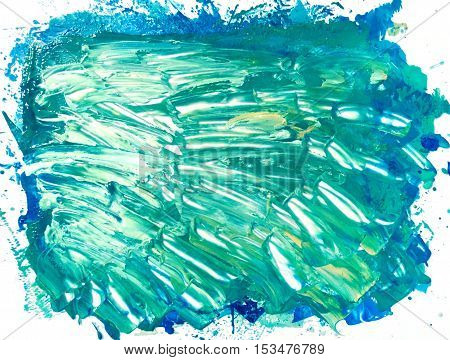 Abstract watercolor colorful texture. Art design in turquoise colors. Backdrop of paint texture. Splatter paint splash background textures. Made by gouache and watercolor paint. Colorful brush strokes