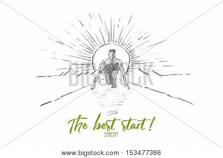 Vector hand drawn the best start concept sketch. Business man sitting on his haunches on road and preparing to start running. Lettering The best start concept