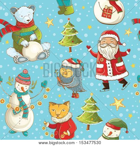 Seamless vector pattern with Santa Claus snowman christmas tree and cute animals. Tileable cartoon christmas background.