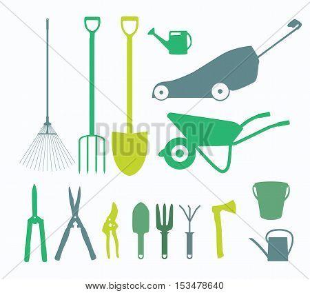 Garden Tools, Instruments Flat Icon Collection Set. Shovel, bucket, rake, secateurs, scissors, wheelbarrow and watering Vector Illustration EPS10