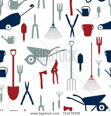 Garden Tools, Instruments Flat Icon Collection Set. Shovel, bucket, rake, secateurs, scissors, wheelbarrow and watering. Seamless Pattern Background. Vector Illustration EPS10