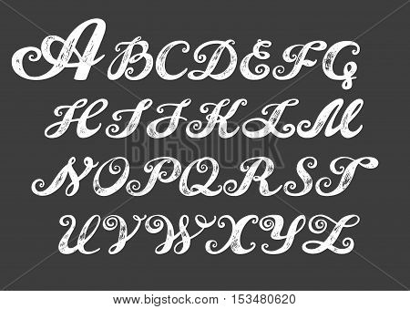 Calligraphy alphabet typeset lettering. Hand drawn alphabet. Capital and lower-case letters. Copy-book hand font. Hand drawn sketch of ABC letters in old fashion vintage style. Calligraphy letters set