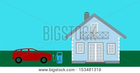 Concept Electric Car on batteries, and Fuel Station near the house. Vector Illustration. EPS10