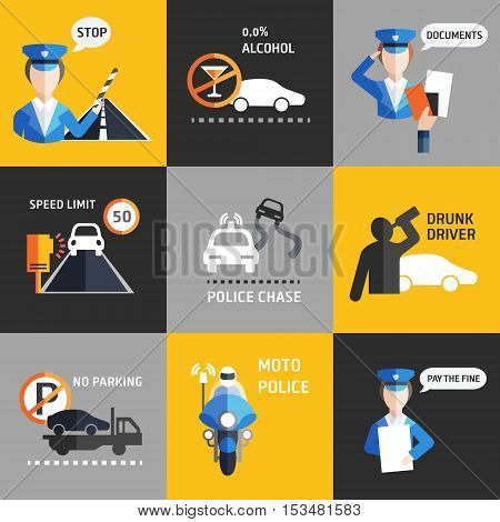 Road police flat style backgroud vector set