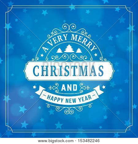 merry christmas and happy new year postcard background. vector holiday greeting card with curl sign and text on blue blurred winter backdrop with stars for print.