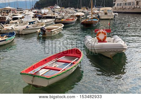 Yacht, fishing boat, sailing boats, cruise ships at Portofino port, Italian fishing village, Genoa province, Italy