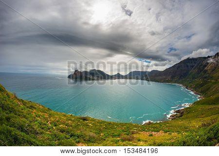 Fisheye Ultrawide View Of Hout Bay, Cape Town, South Africa, From Chapman's Peak. Winter Season, Clo