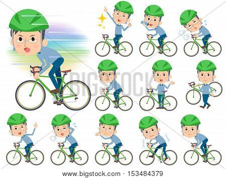 Set of various poses of Blue clothing glass dad on rode bicycle