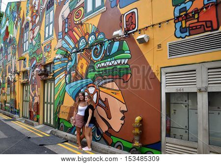 Decorative Wall Painting At Haji Lane, Singapore