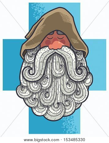 Cartoon portrait of old Christian monk with big beard.