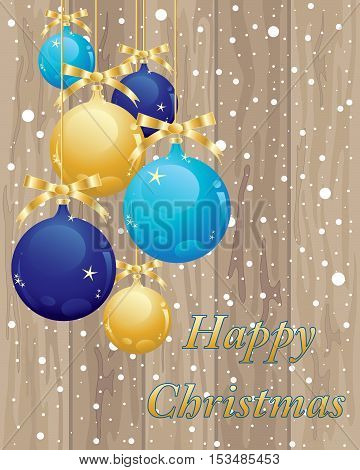 an illustration of wooden floor boards with blue and gold baubles with snowflakes in a christmas greeting card format