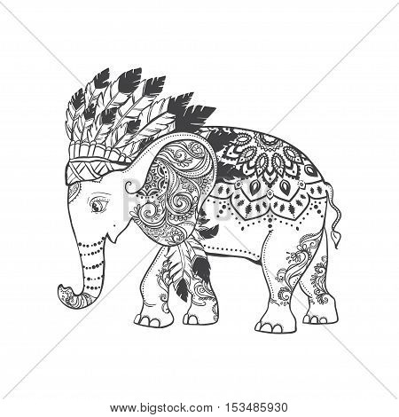Elephant head with american indian chief headdress feather. Ethnic Indian ornaments. Vector illustration