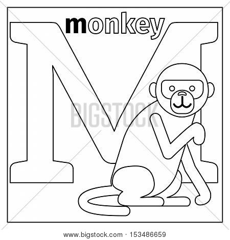 Coloring page or card for kids with English animals zoo alphabet. Monkey, letter M vector illustration