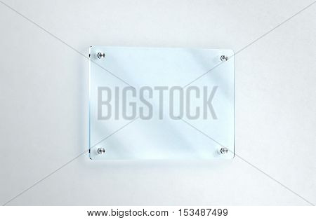 Blank glass nameplate mounted on the wall mockup clipping path 3d rendering. Clear acrylic sign frame design mock up. Empty shiny mirror holder fixed on white wall. Office door glassy signage.