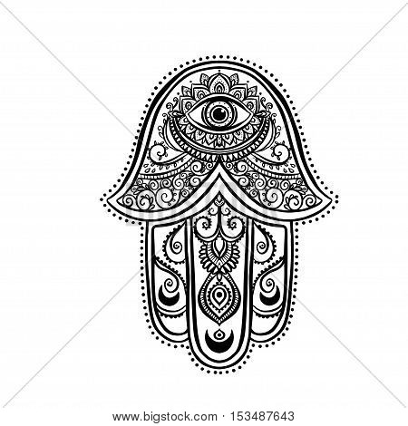 Ornament card with hamsa. Geometric circle element made in vector. Talisman ornamental hamsa, symbol Eye protection.