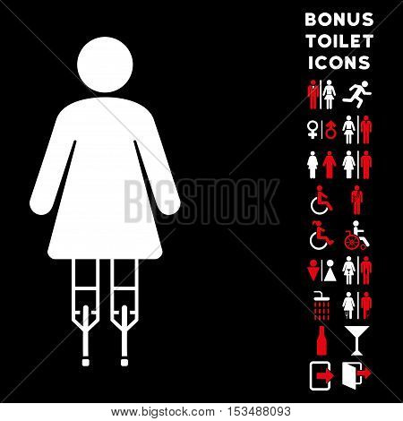 Woman Crutches icon and bonus gentleman and woman WC symbols. Vector illustration style is flat iconic bicolor symbols, red and white colors, black background.