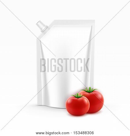 Vector Blank Plastic Stand up Pack or Pouch foil with a corner lid of Tomato Ketchup for Branding with Fresh Tomatoes Isolated on White Background