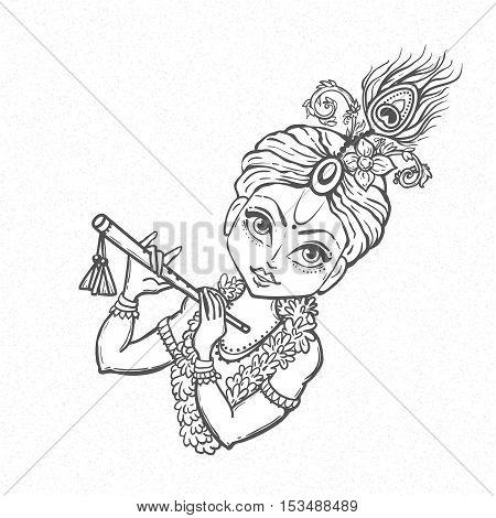 Ornament card with Lord Shri Krishna birthday. Illustration in vector art.