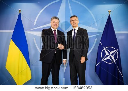 Nato Secretary General Jens Stoltenberg And President Of Ukraine Poroshenko
