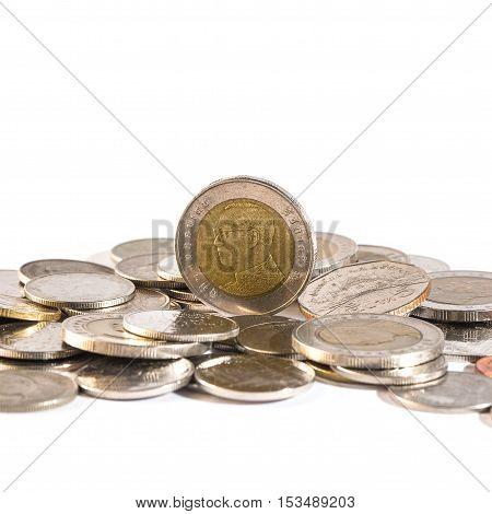 Thai Baht, Money, Thai Coin.money Thai Coins ( Bath) Staircase Sorted On Isolate. King Of Thailand.
