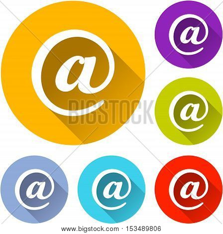 Illustration of six mail icons on white background