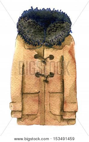 watercolor sketch of sheepskin coat on white background