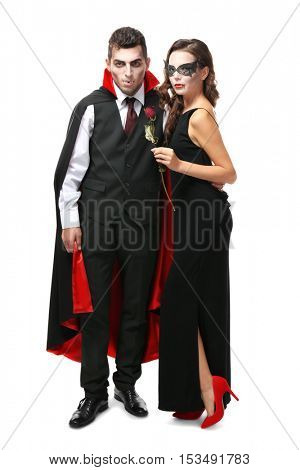 Young couple dressed in v&ire costumes for Halloween isolated on white  sc 1 st  Bigstock & Young Couple Dressed Image u0026 Photo (Free Trial) | Bigstock