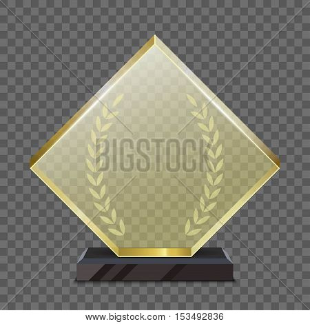 Realistic glass gold trophy award. isolated on a white background